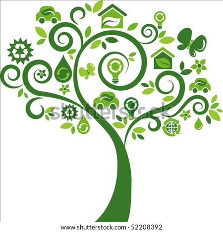 Green tree with many ecological icons - stock vector
