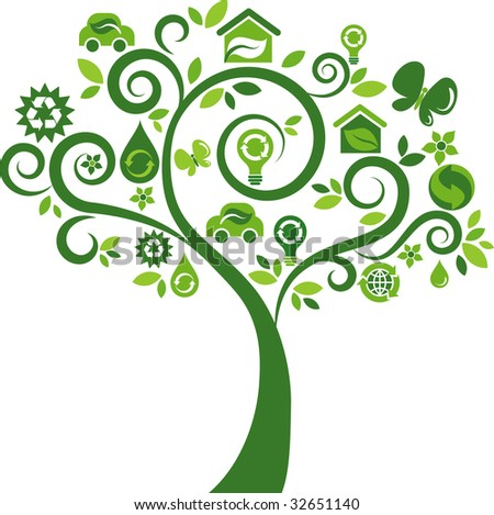 Green tree with many environmental icons - stock vector