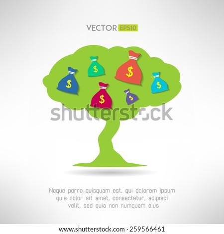 Green tree with money bags. Prosperity and treasure concept. Vector illustration - stock vector