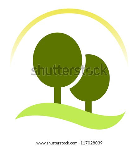 Green trees - forest sign isolated on white - stock vector
