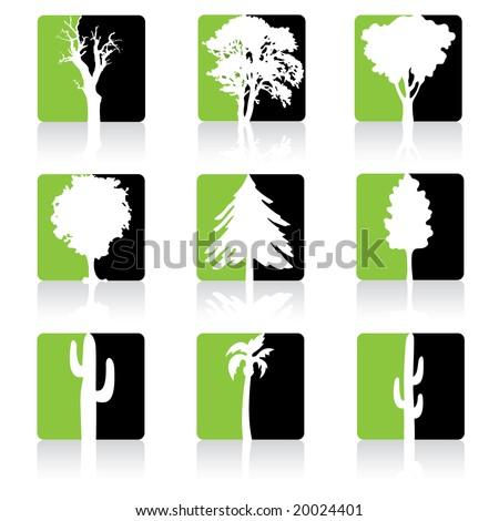 Green Trees Icon set - stock vector