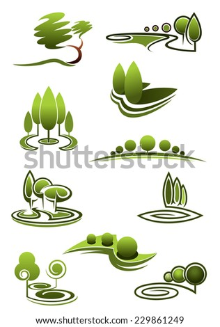 Green trees in landscapes icons with stylized rows or stands of trees in swirling scenery, vector illustration on white - stock vector