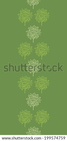 Green trees stripes vertical seamless pattern background - stock vector