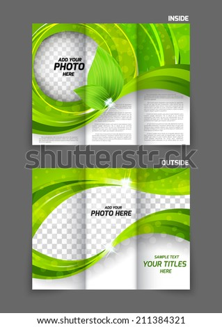 Green tri-fold brochure ecology nature design with leaves - stock vector