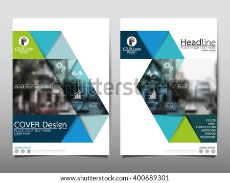 Green triangle annual report brochure flyer design template vector, Leaflet cover presentation abstract flat background, layout in A4 size - stock vector