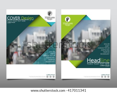 Green Triangle annual report brochure flyer design template vector, Leaflet cover presentation abstract geometric background, layout in A4 size - stock vector