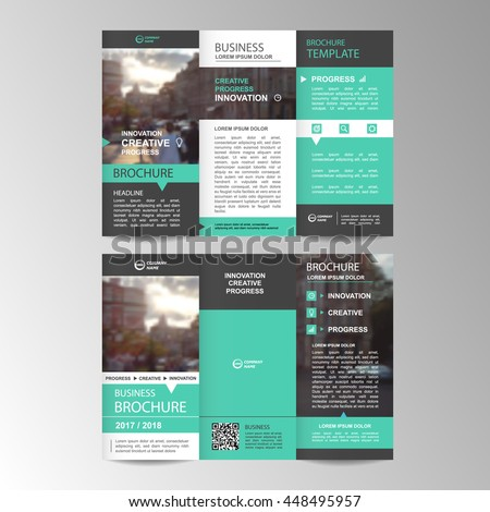 Green Trifold Business Brochure Leaflet Flyer Stock Photo Photo