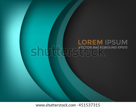 Green turquoise curve background vector with dark space for text and message design - stock vector