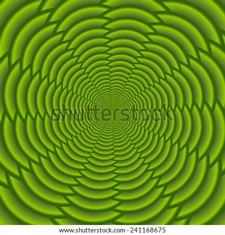 Green twisted and ribbed abstract flower background - stock vector