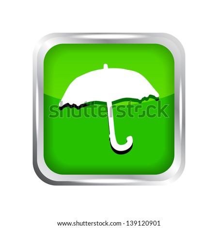 Green umbrella icon on a white background - stock vector