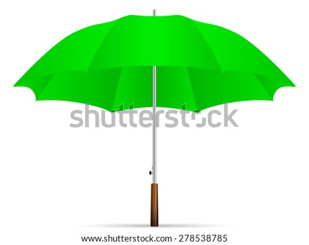 green umbrella on a white background. Vector illustration. - stock vector