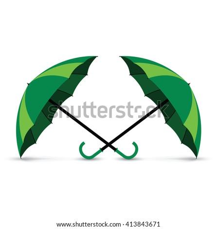 green umbrellas - stock vector