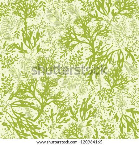 Green underwater seaweed seamless pattern background - stock vector