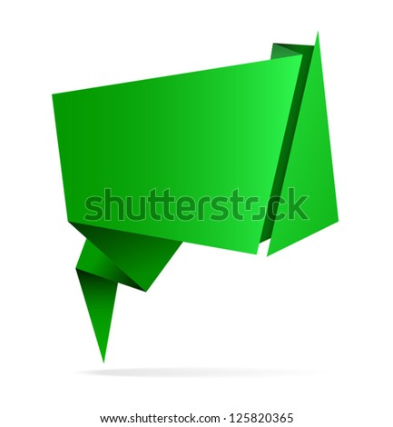 Green vector abstract origami speech bubble, isolated on white background, eps10 - stock vector
