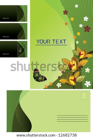 Green vector background, business card, letter - stock vector