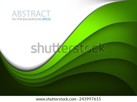 Green vector background curve line on white space shadow overlap layer modern texture pattern for text and message website design - stock vector