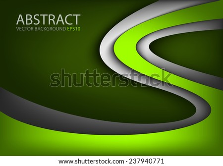 Green vector background curve silver grey line on dark space overlap layer graphic for text and message modern artwork design - stock vector
