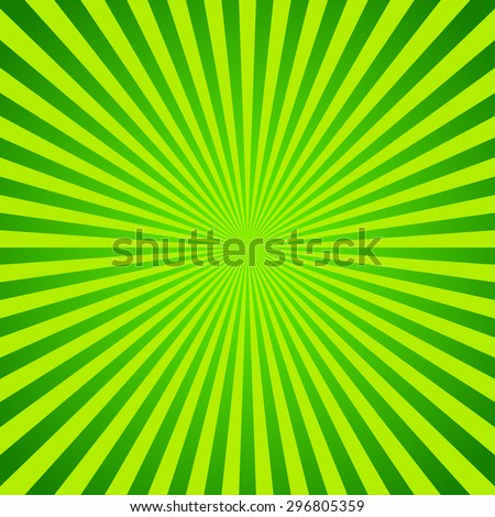 Green vector background of radial lines. Comic book. Radiant abstract illustration