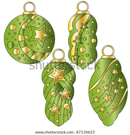 Green vector bauble collection with glossy golden stars and dots - stock vector