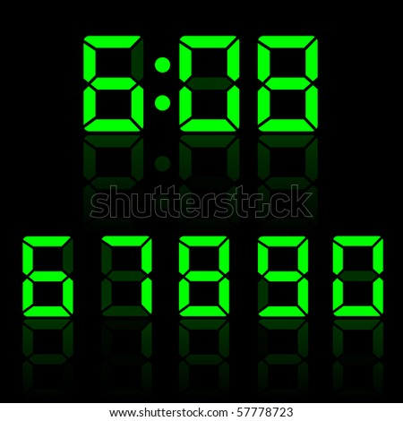 Green Vector Clock Digits - stock vector
