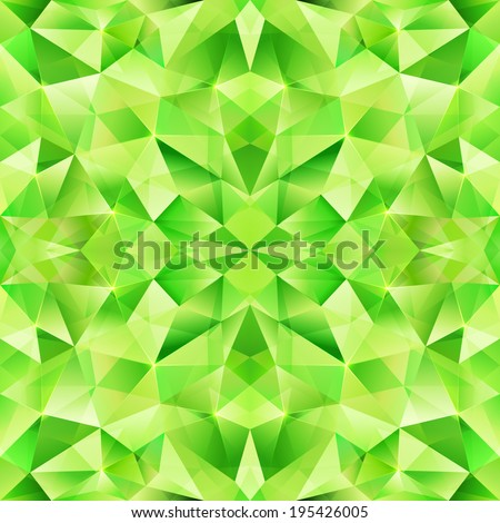 Green vector crystal seamless pattern - stock vector