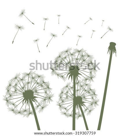 Green vector dandelions