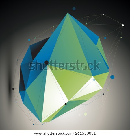 Green vector digital 3d abstraction, lattice geometric polygonal misshapen template. Emerald perspective wireframe unusual illustration.