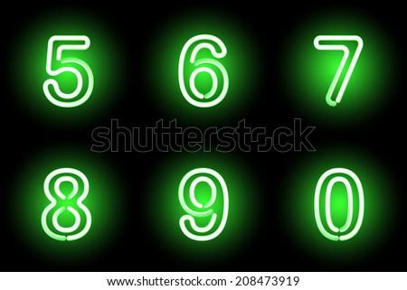 Green vector digits. Vector illustration. - stock vector