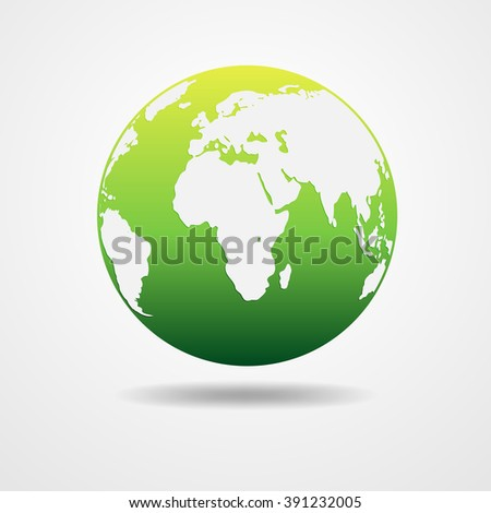 Green vector Earth globe isolated on white. Light - green simple scheme of the globe. Globe earth Icon - vector illustration. Illustration of an eco-friendly green earth design. - stock vector