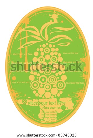 green vector ellipse fruit juice label with pineapple