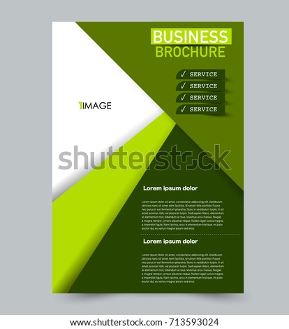 Green Vector Flyer Template Abstract Brochure Stock Vector