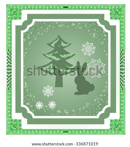 Green vector frame, silhouettes of a rabbit and a Christmas tree and snowflakes.