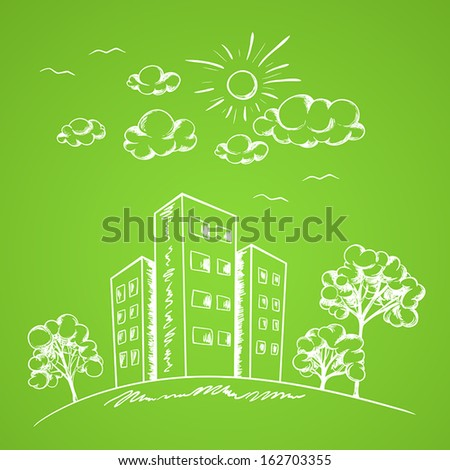 Green vector hand drawn background with house and trees