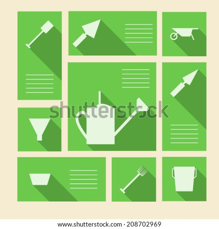 Green vector icons for gardening tools with place for text. Square green vector icons with white silhouette symbols for gardening tools and place for your text. - stock vector