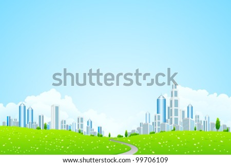 Green Vector landscape with trees road and business city for your design - stock vector