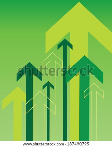 Green Vector Overlapping Arrow Background and Elements