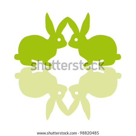 green vector rabbits sniff at each other - stock vector