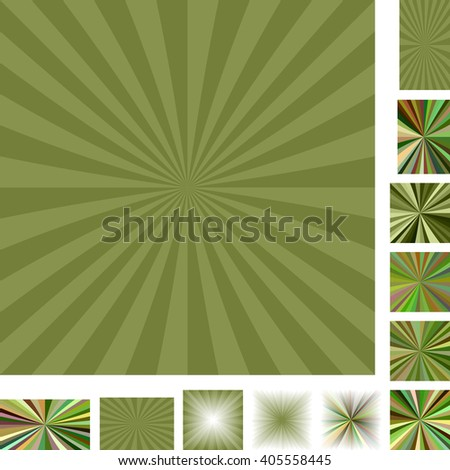 Green vector ray burst design background set. Different color, gradient, screen, paper size versions.