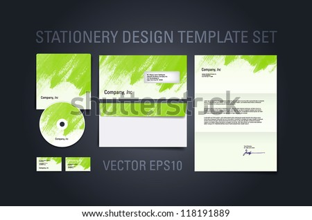Green vector stationery design template set with hand painted brush strokes texture