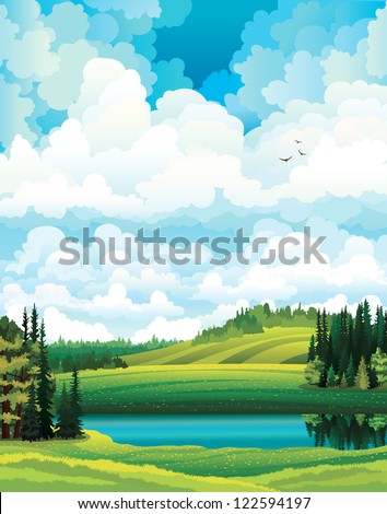 Green vector summer landscape with forest, river and hill on a cloudy sky background