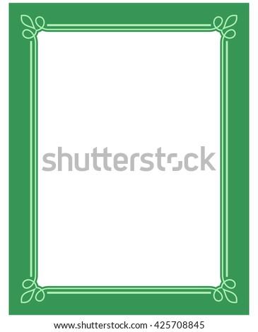 Green vector vintage line border frame plaque - stock vector