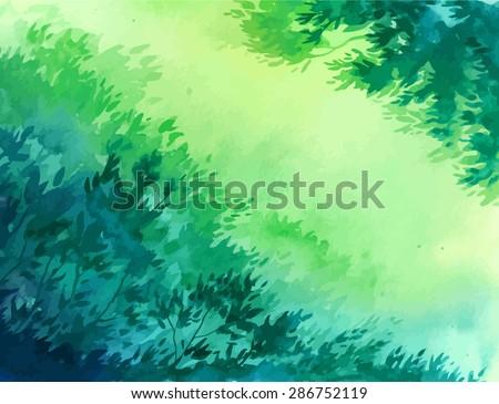 Green vector watercolor background - stock vector
