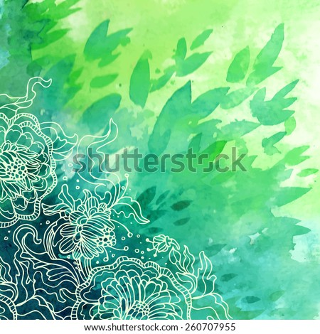 Green vector watercolor background. Flowers ornament. - stock vector