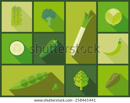 Green vegetable icons vector illustration. Flat design illustration with a variety of green vegetable icons. - stock vector