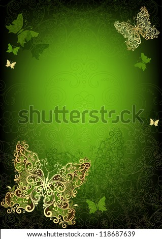 Green vintage card with gold butterflies (vector EPS 10) - stock vector