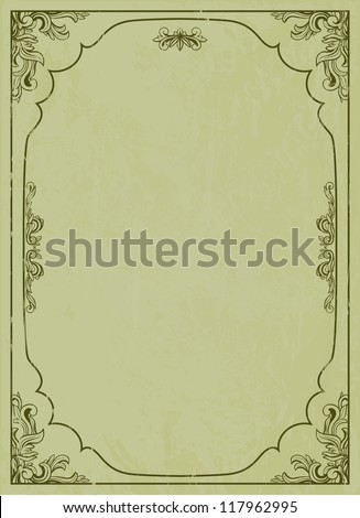 Green vintage frame with grunge texture - stock vector