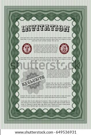Green Vintage Invitation Template Artistry Design Stock Vector HD ...