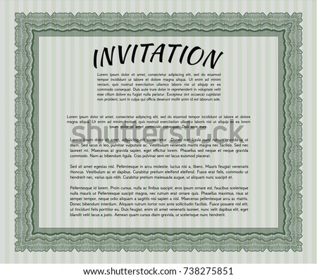 Green Vintage Invitation Template Complex Background Stock Vector HD ...