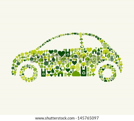 Green vintage light car design eco friendly hand drawn  . This illustration is layered for easy manipulation and custom coloring