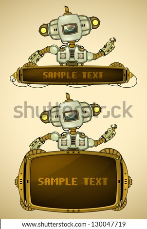 Green vintage robot with display - stock vector
